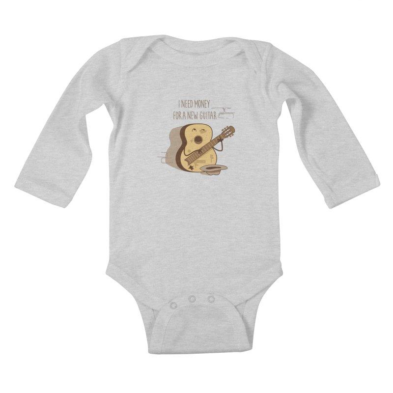 new guitar Kids Baby Longsleeve Bodysuit by gotoup's Artist Shop