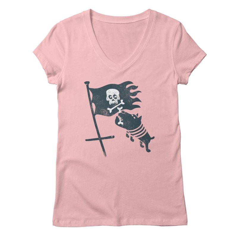 Jolly Roger Women's V-Neck by gotoup's Artist Shop