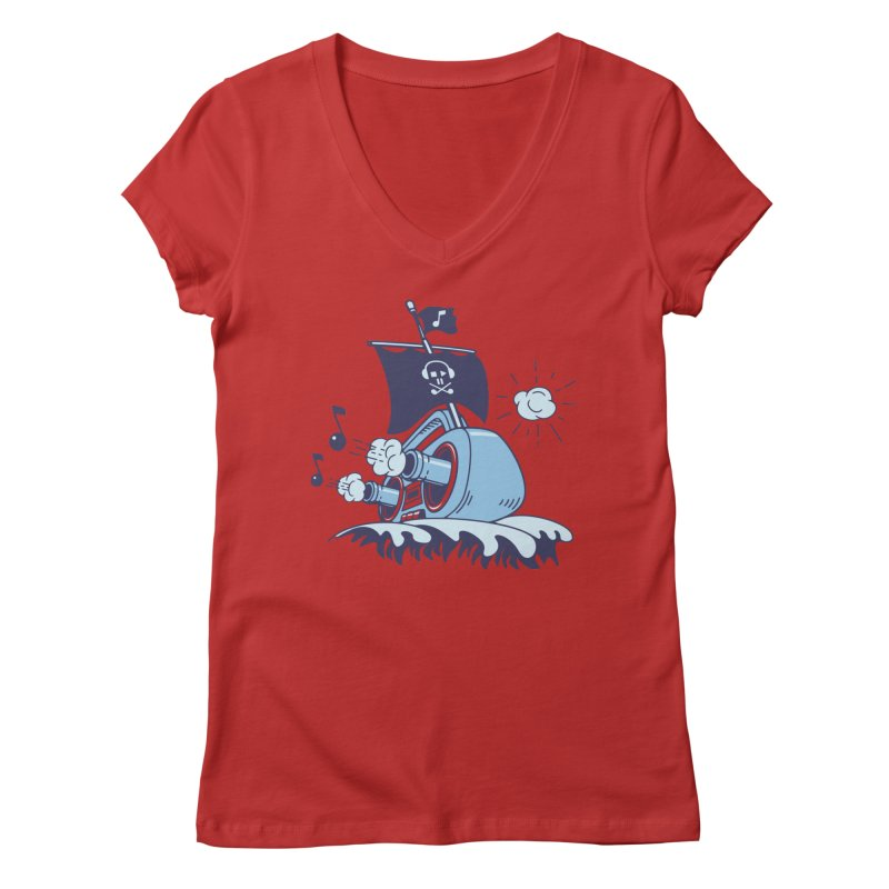 MUSICAL SHIP Women's V-Neck by gotoup's Artist Shop