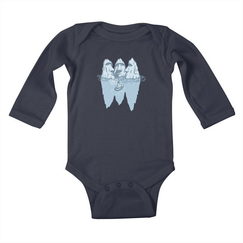THREE ICEBERGS Kids Baby Longsleeve Bodysuit by gotoup's Artist Shop