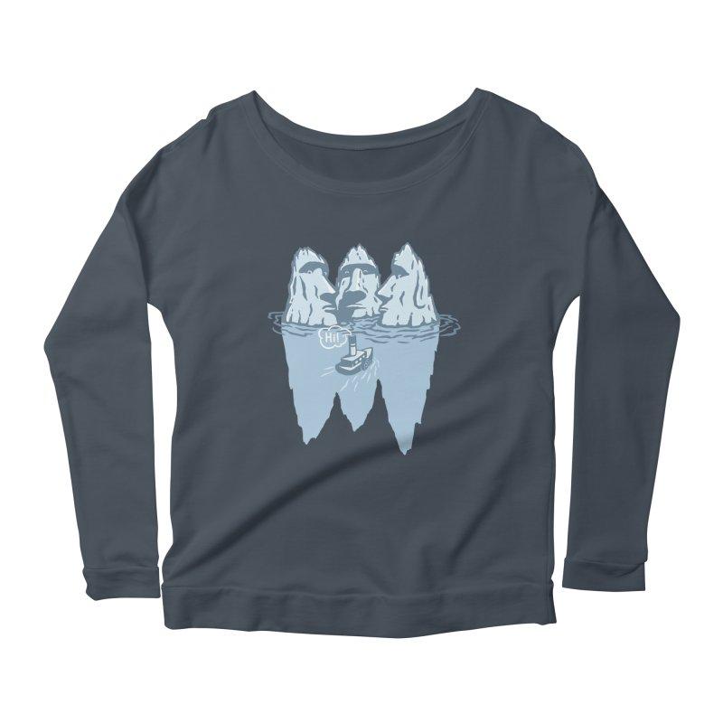 THREE ICEBERGS Women's Scoop Neck Longsleeve T-Shirt by gotoup's Artist Shop