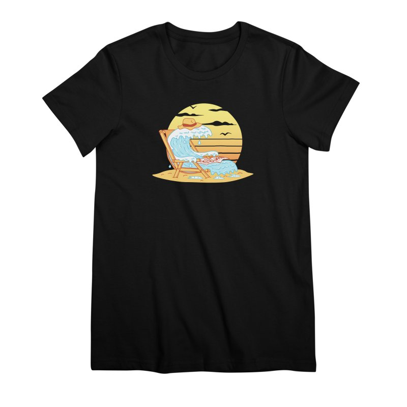 WAVE ON THE BEACH Women's Premium T-Shirt by gotoup's Artist Shop
