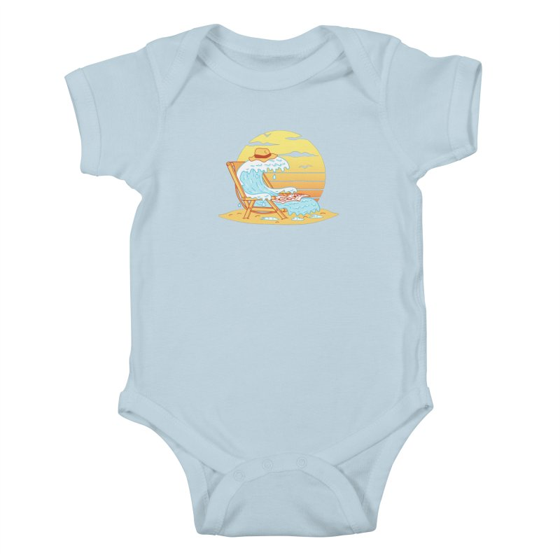 WAVE ON THE BEACH Kids Baby Bodysuit by gotoup's Artist Shop