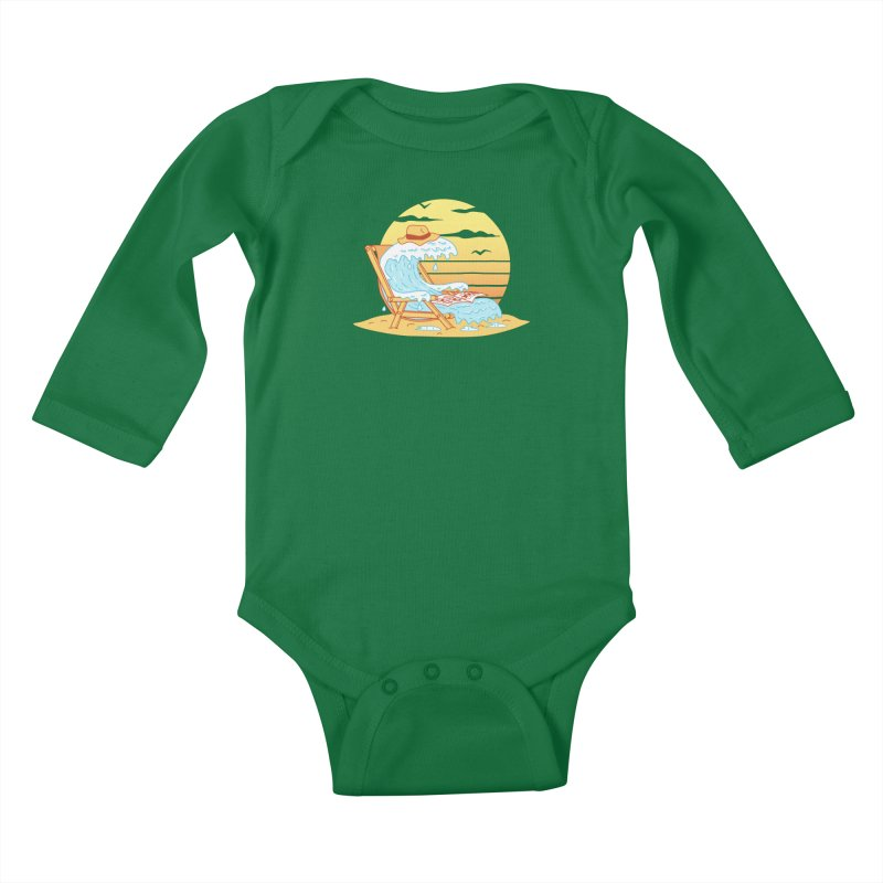 WAVE ON THE BEACH Kids Baby Longsleeve Bodysuit by gotoup's Artist Shop