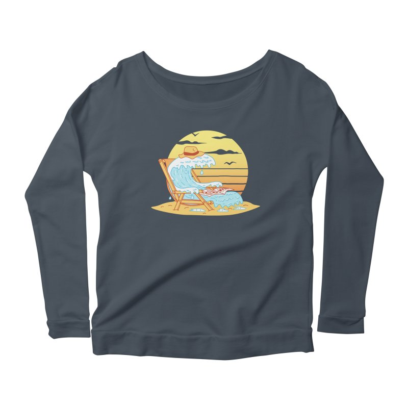 WAVE ON THE BEACH Women's Scoop Neck Longsleeve T-Shirt by gotoup's Artist Shop