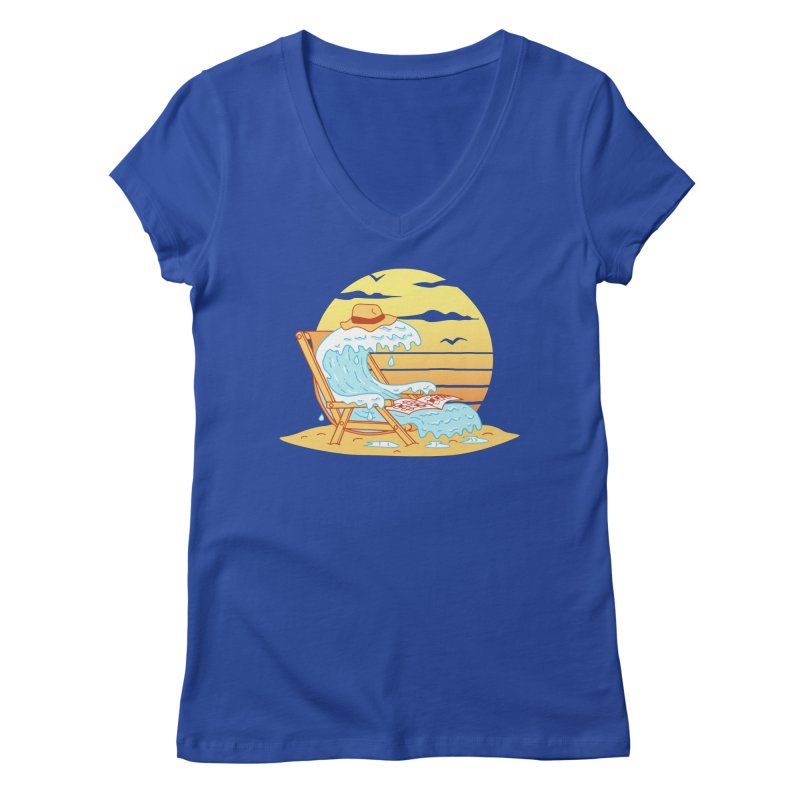 WAVE ON THE BEACH Women's Regular V-Neck by gotoup's Artist Shop