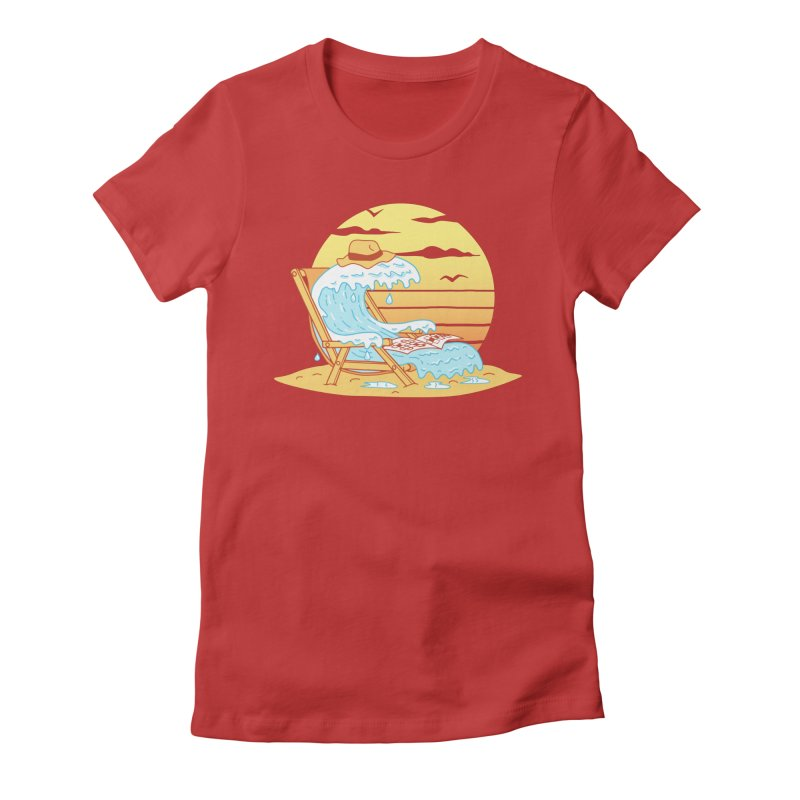 WAVE ON THE BEACH Women's Fitted T-Shirt by gotoup's Artist Shop