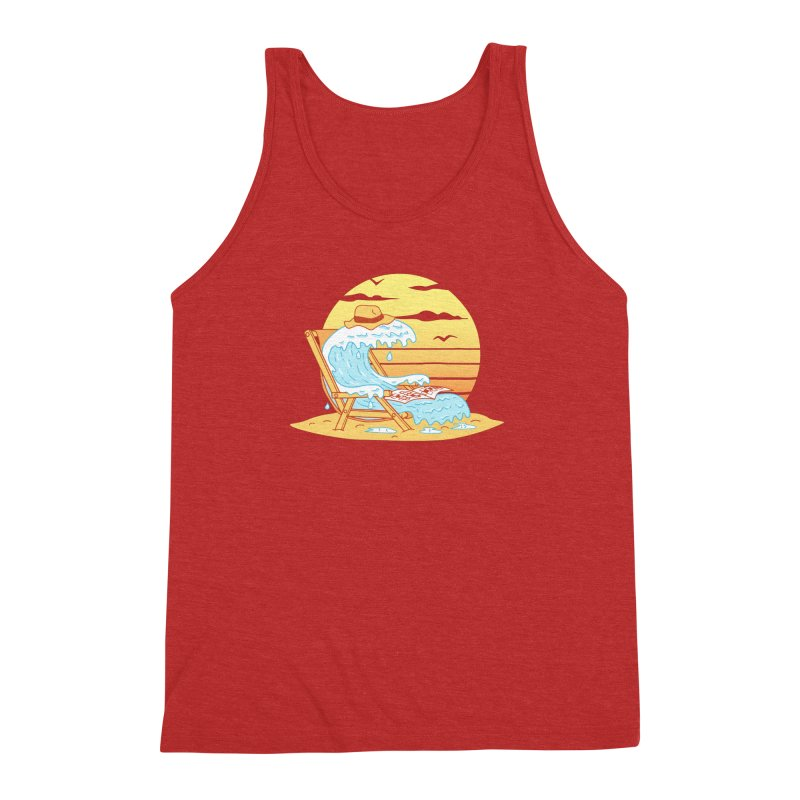 WAVE ON THE BEACH Men's Triblend Tank by gotoup's Artist Shop