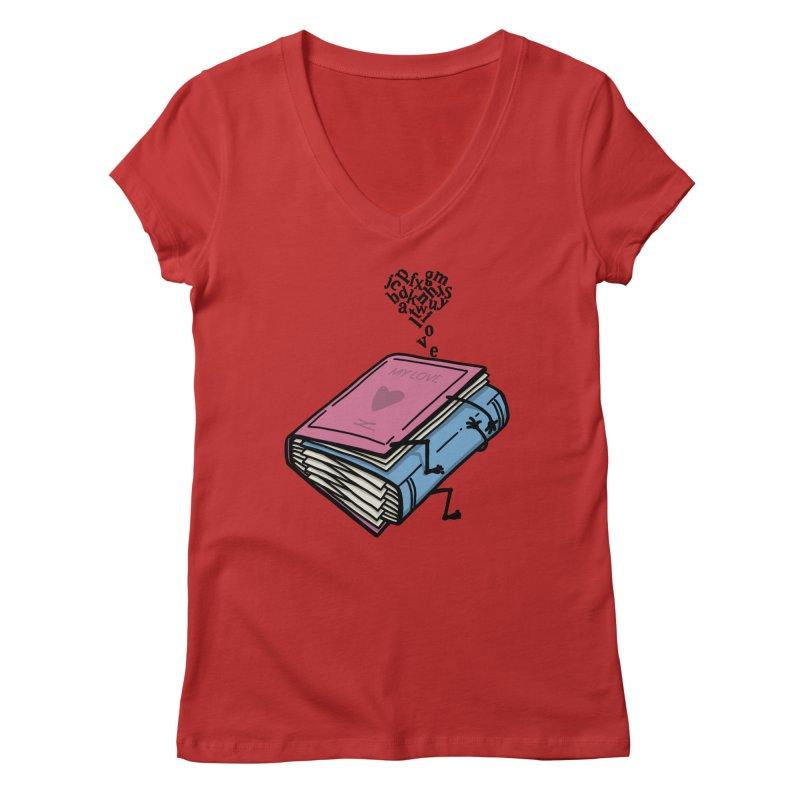 love books Women's Regular V-Neck by gotoup's Artist Shop
