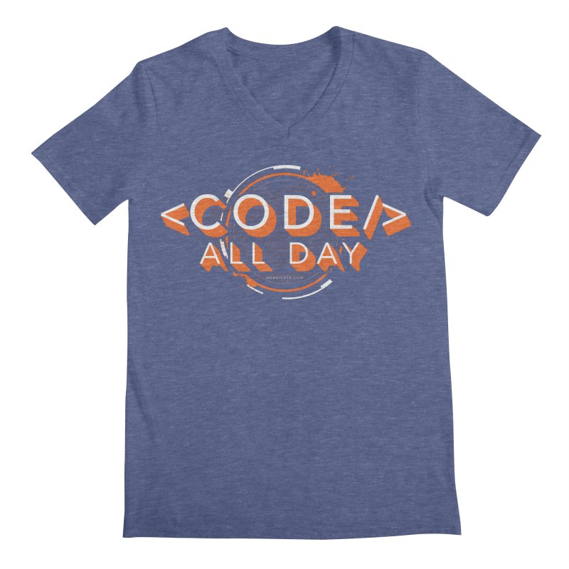 Code All Day Men's Regular V-Neck by Gradient9 Studios Threadless Store