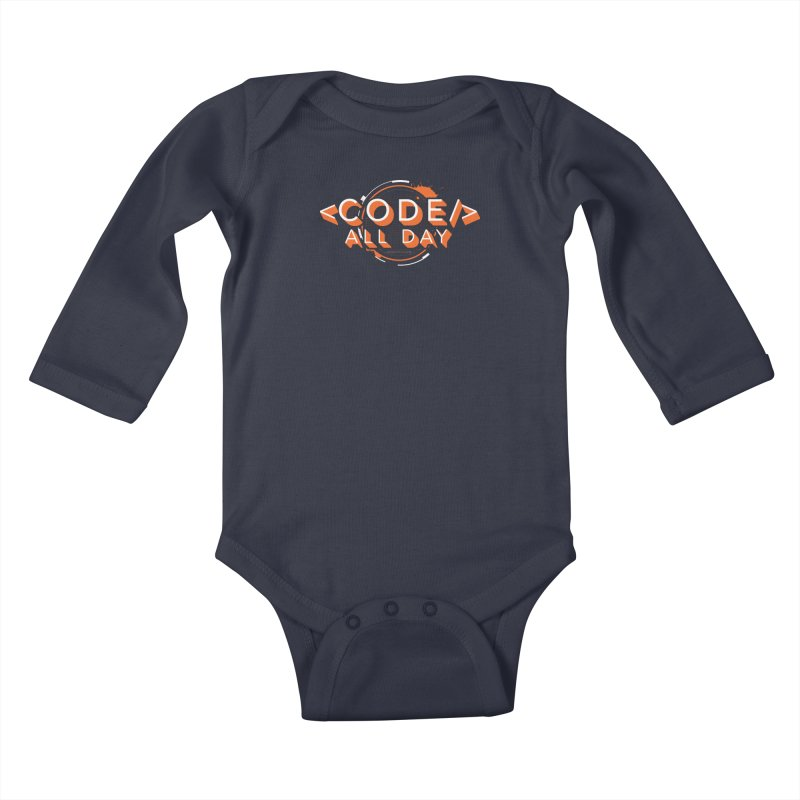 Code All Day Kids Baby Longsleeve Bodysuit by Gradient9 Studios Threadless Store
