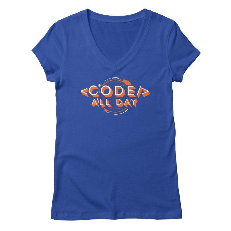 Code All Day Women's Regular V-Neck by Gradient9 Studios Threadless Store