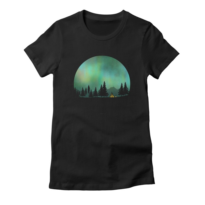 Aurora Borealis  in Women's Fitted T-Shirt Black by Graeme Voigt