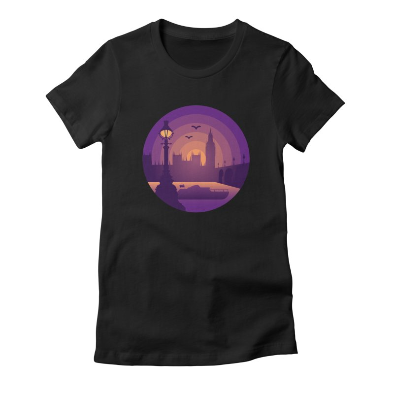 London in Women's Fitted T-Shirt Black by Graeme Voigt
