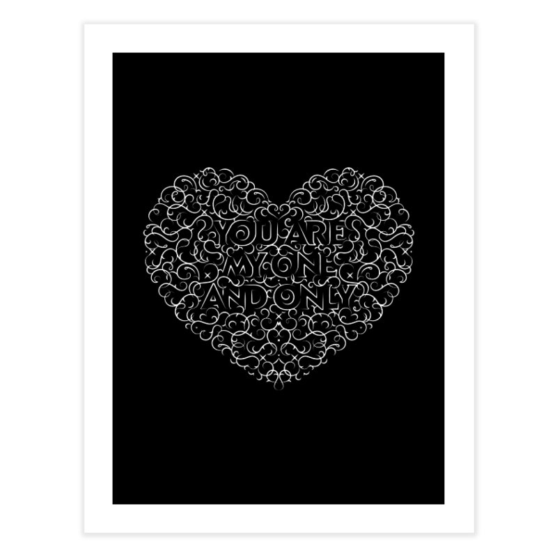 One and Only Valentine Typo |White Design Home Fine Art Print by GRAFIXD'S SHOP