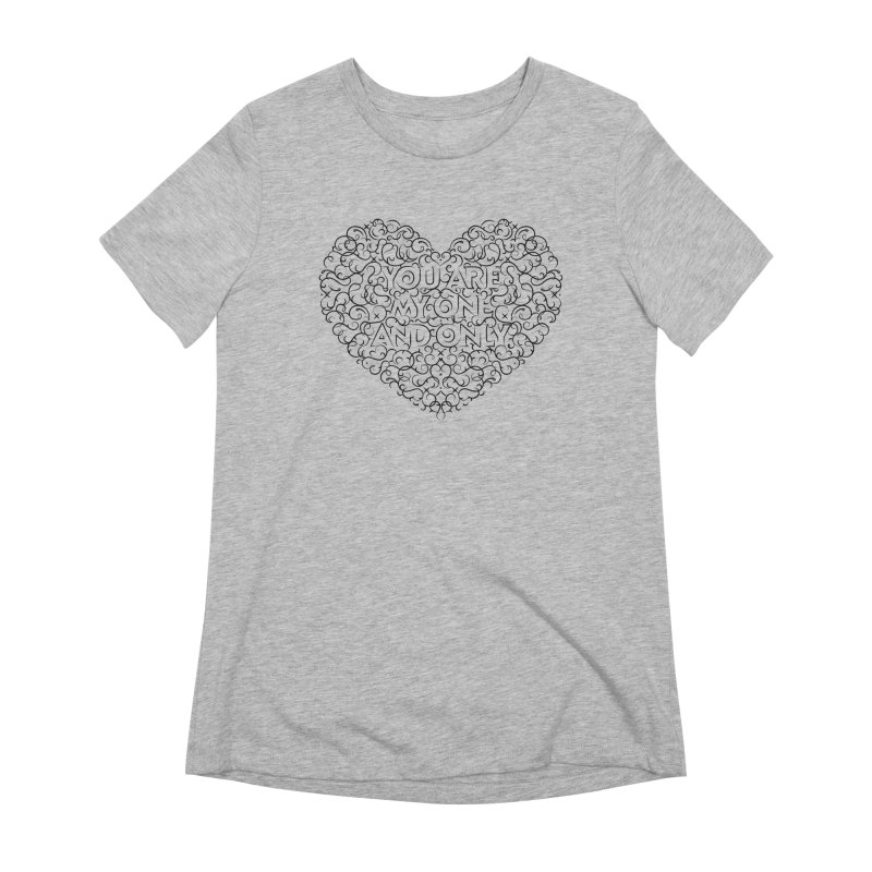 One and Only Valentine Typo | Black Design Women's T-Shirt by GRAFIXD'S SHOP