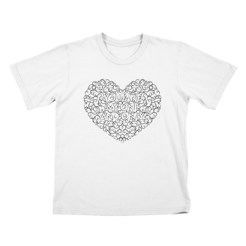 One and Only Valentine Typo | Black Design Kids T-Shirt by GRAFIXD'S SHOP