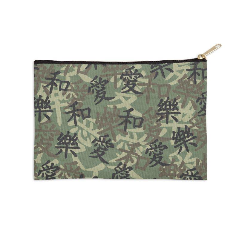 Kanji Camo Love Peace Happiness JUNGLE Accessories Zip Pouch by Grandio Design Artist Shop