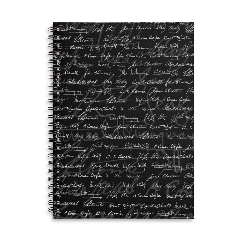 Literary Giants Pattern Accessories Lined Spiral Notebook by Grandio Design Artist Shop