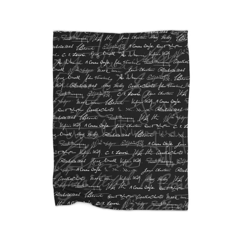 Literary Giants Pattern Home Fleece Blanket Blanket by Grandio Design Artist Shop