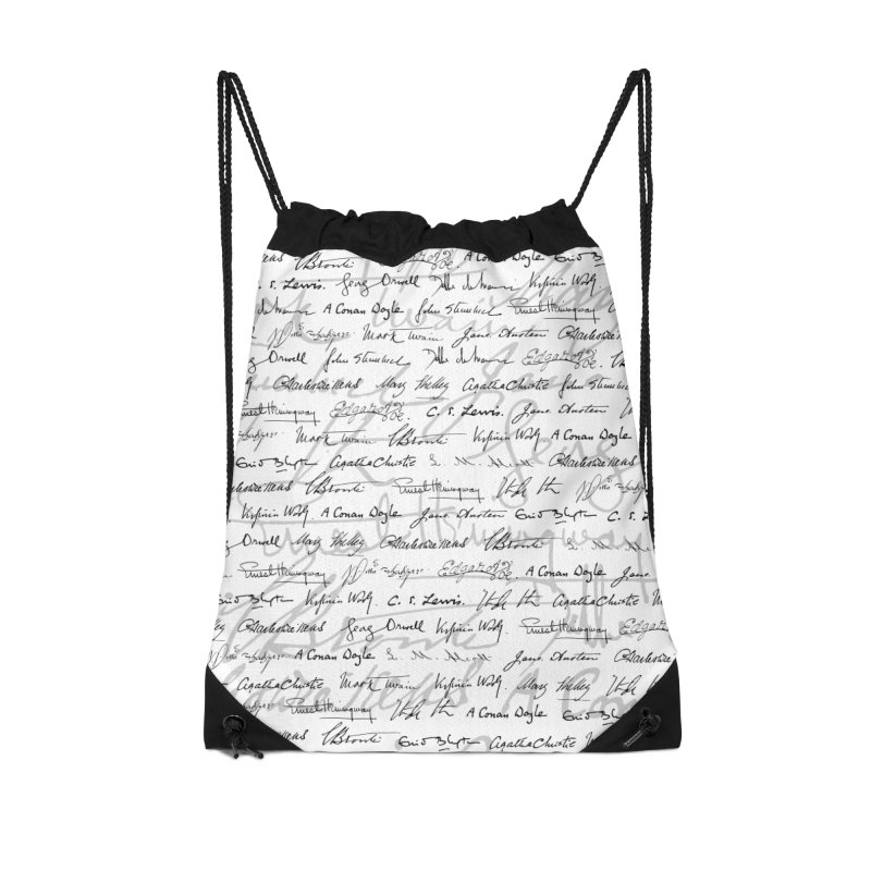 Literary Giants Pattern II Accessories Drawstring Bag Bag by Grandio Design Artist Shop