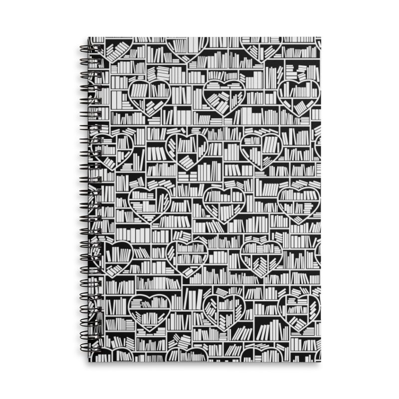 Book Lover Heart Library Pattern Accessories Lined Spiral Notebook by Grandio Design Artist Shop