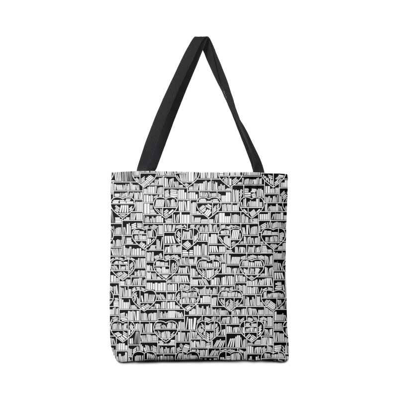 Book Lover Heart Library Pattern Accessories Tote Bag Bag by Grandio Design Artist Shop