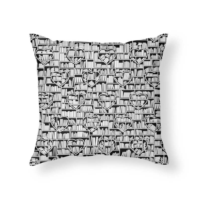Book Lover Heart Library Pattern Home Throw Pillow by Grandio Design Artist Shop