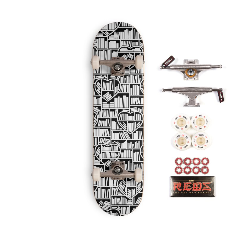 Book Lover Heart Library Pattern Accessories Complete - Pro Skateboard by Grandio Design Artist Shop