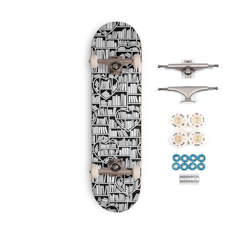 Book Lover Heart Library Pattern Accessories Complete - Premium Skateboard by Grandio Design Artist Shop