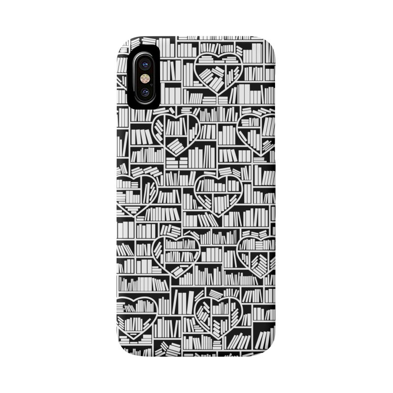 Book Lover Heart Library Pattern Accessories Phone Case by Grandio Design Artist Shop