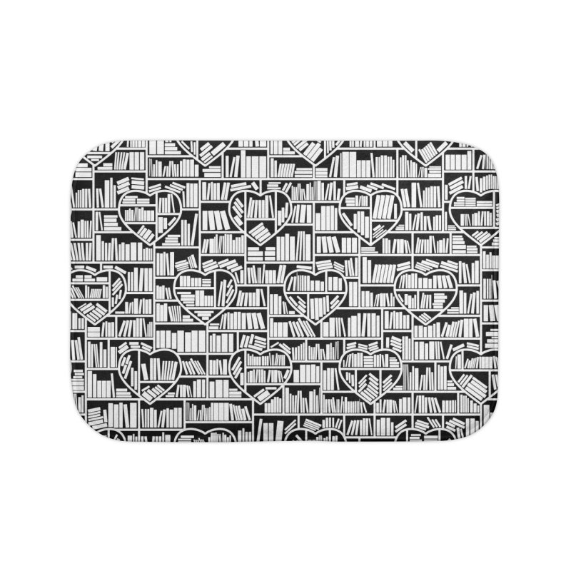 Book Lover Heart Library Pattern Home Bath Mat by Grandio Design Artist Shop