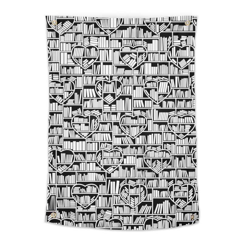 Book Lover Heart Library Pattern Home Tapestry by Grandio Design Artist Shop