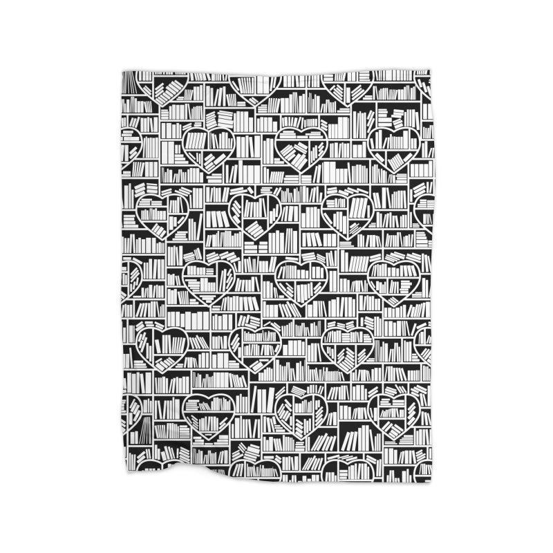 Book Lover Heart Library Pattern Home Fleece Blanket Blanket by Grandio Design Artist Shop