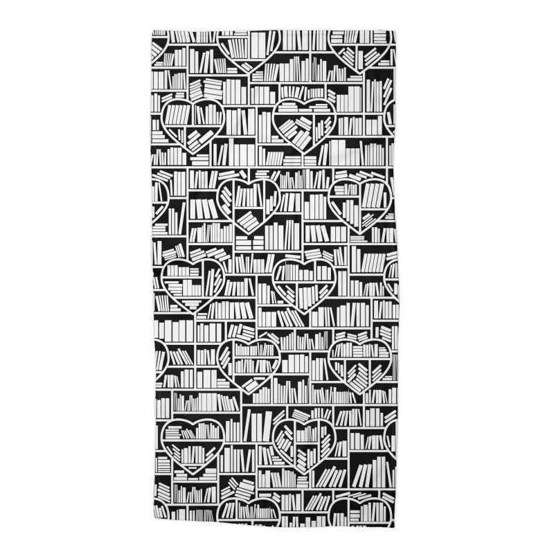 Book Lover Heart Library Pattern Accessories Beach Towel by Grandio Design Artist Shop