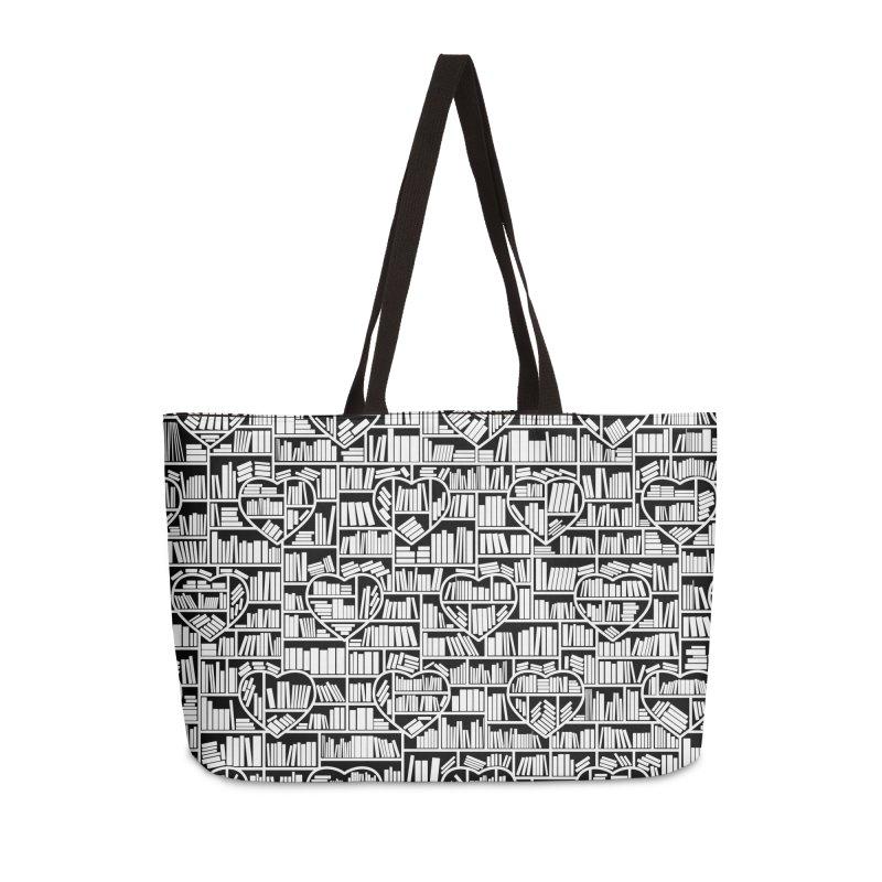 Book Lover Heart Library Pattern Accessories Weekender Bag Bag by Grandio Design Artist Shop