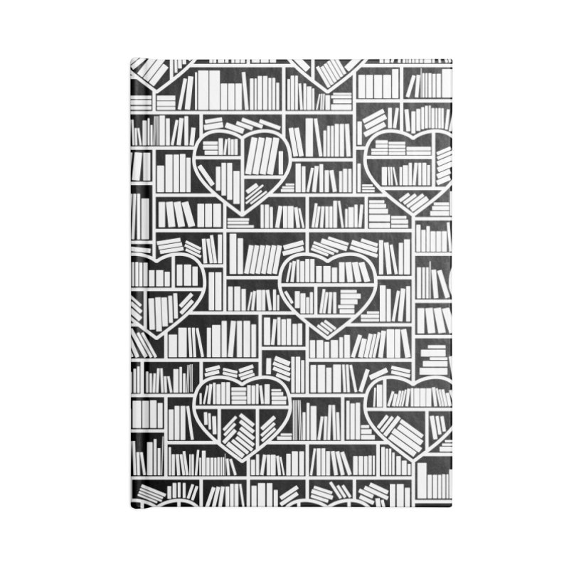 Book Lover Heart Library Pattern Accessories Blank Journal Notebook by Grandio Design Artist Shop