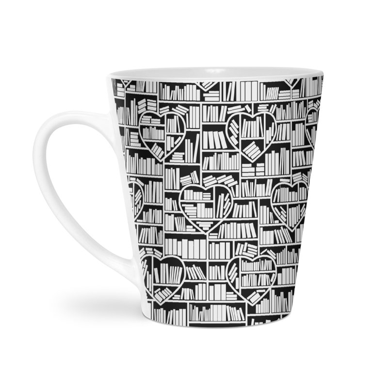 Book Lover Heart Library Pattern Accessories Latte Mug by Grandio Design Artist Shop