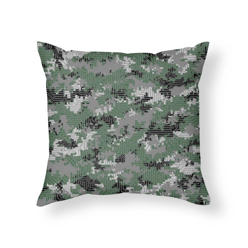 Computer Circuit Camo URBAN GAMER Home Throw Pillow by Grandio Design Artist Shop