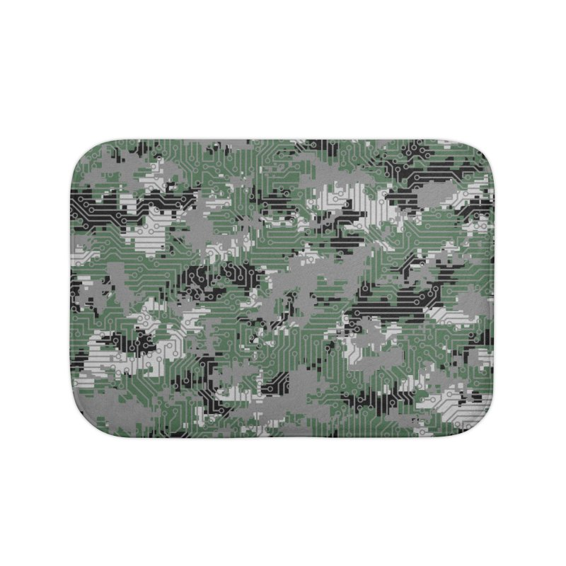 Computer Circuit Camo URBAN GAMER Home Bath Mat by Grandio Design Artist Shop