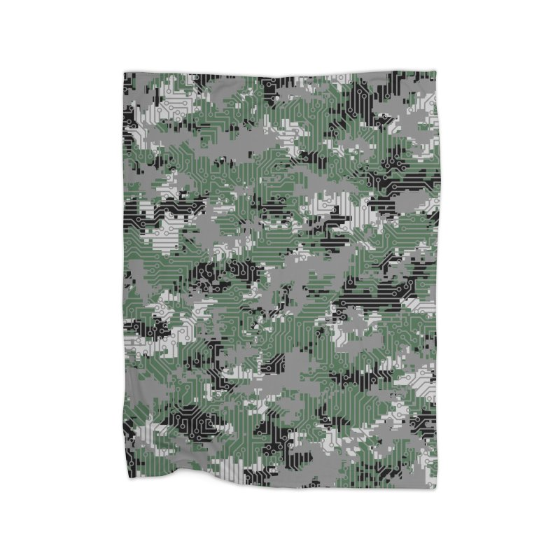 Computer Circuit Camo URBAN GAMER Home Fleece Blanket Blanket by Grandio Design Artist Shop