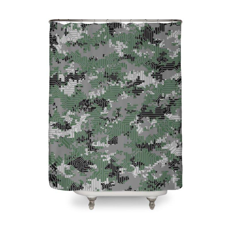 Computer Circuit Camo URBAN GAMER Home Shower Curtain by Grandio Design Artist Shop