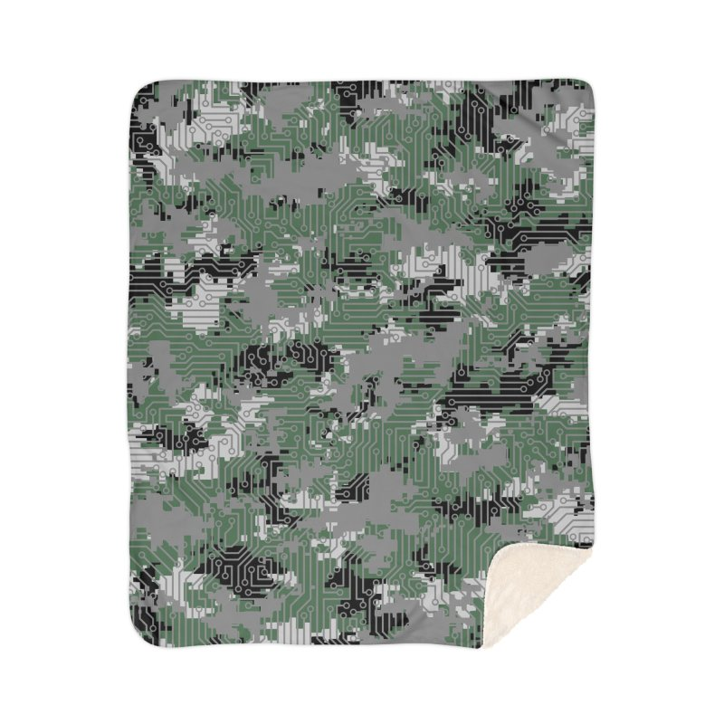 Computer Circuit Camo URBAN GAMER Home Sherpa Blanket Blanket by Grandio Design Artist Shop