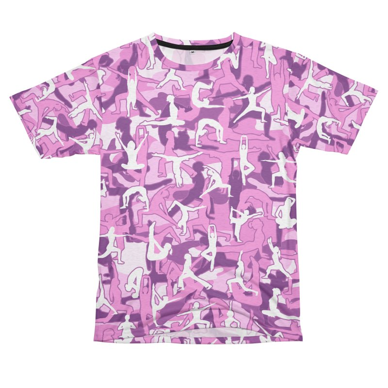 Yoga Harmony Camo PINK Women's Unisex French Terry T-Shirt Cut & Sew by Grandio Design Artist Shop