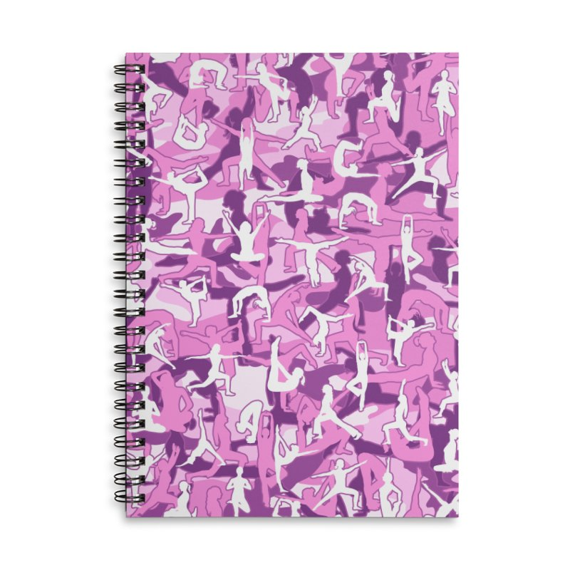 Yoga Harmony Camo PINK Accessories Lined Spiral Notebook by Grandio Design Artist Shop