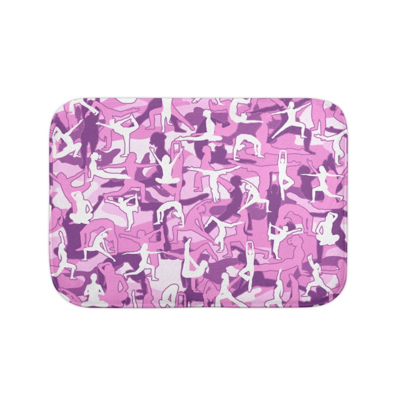 Yoga Harmony Camo PINK Home Bath Mat by Grandio Design Artist Shop