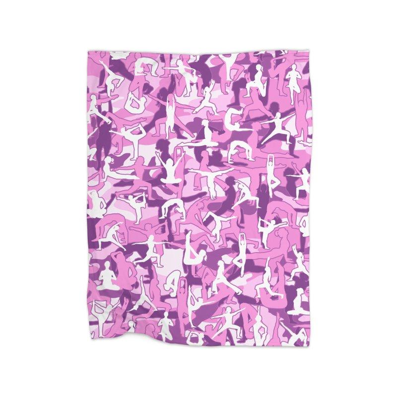 Yoga Harmony Camo PINK Home Fleece Blanket Blanket by Grandio Design Artist Shop