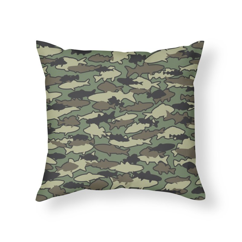 Fish Camo JUNGLE Home Throw Pillow by Grandio Design Artist Shop