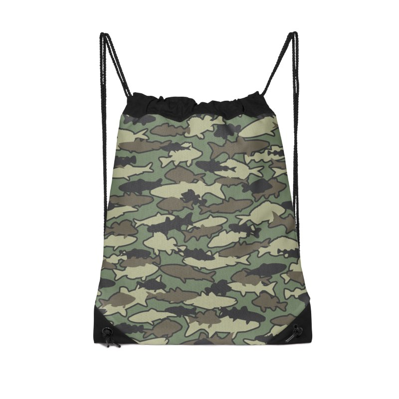 Fish Camo JUNGLE Accessories Drawstring Bag Bag by Grandio Design Artist Shop