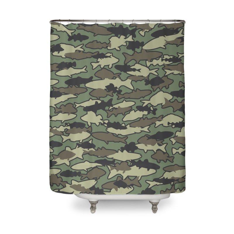 Fish Camo JUNGLE Home Shower Curtain by Grandio Design Artist Shop